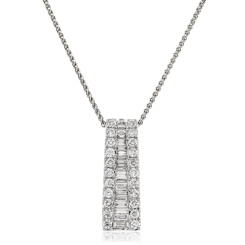 HPBDR187 Round & Baguette cut Drop Diamond Pendant - white