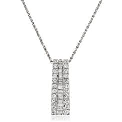 HPBDR187 Round & Baguette cut Drop Diamond Pendant - white