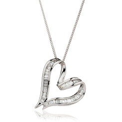 HPBDR198 Twisted Heart Baguette cut Diamond Pendant - white