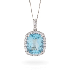 HPCGAQ236 Cushion cut Aquamarine Halo Pendant - white