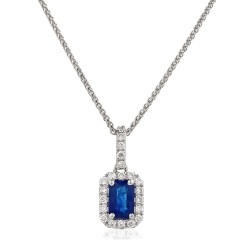 HPEGBS248 Emerald Shape Blue Sapphire Halo Pendant - white