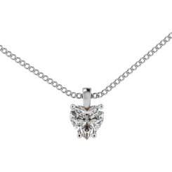HPH7 Heart Solitaire Diamond Pendant - white