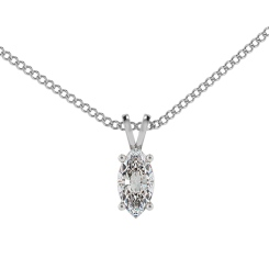 HPM51 Marquise Solitaire Pendant - white
