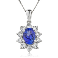 HPOGBS213 Oval Shaped Blue Sapphire Pendant - white