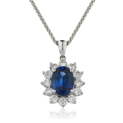 HPOGBS216 Oval Shaped Blue Sapphire Halo Pendant - white