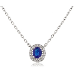 HPOGBS245 Blue Sapphire Single Halo Pendant Necklace - white