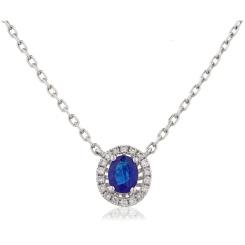 HPOGBS245 Blue Sapphire Single Halo Pendant Necklace - white