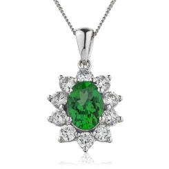 HPOGEM214 Oval Shaped Emerald Pendant - white