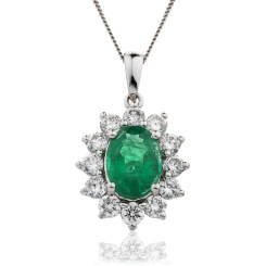 HPOGEM217 Oval Shaped Emerald Halo Pendant - white