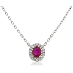 HPOGRY246 Ruby Gemstone Single Halo Pendant Necklace - white