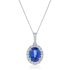HPOGTZ226 Oval Shaped Tanzanite Halo Pendant - white