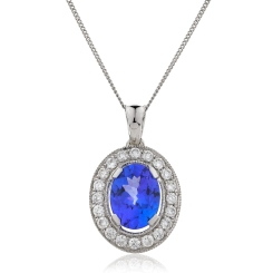 HPOGTZ230 Tanzanite Gemstone Single Halo Pendant - white