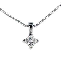 HPP38 Princess Solitaire Pendant - white