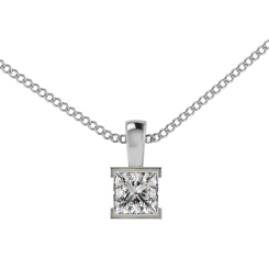 HPP44 Princess Solitaire Pendant - white