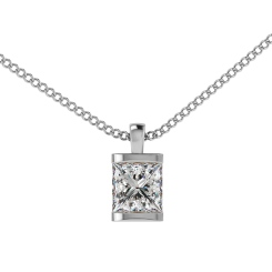 HPP5 Princess Solitaire Diamond Pendant - white