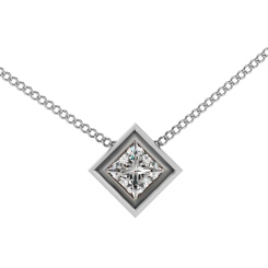 HPP6 Princess Solitaire Diamond Pendant - white