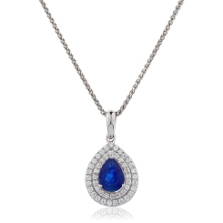 HPPEGBS222 Pear Shaped Blue Sapphire Double Halo Pendant - white