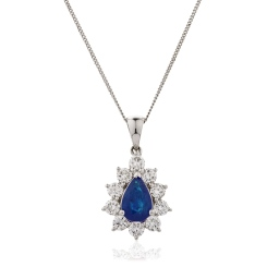 HPPEGBS242 Floral Design Blue Sapphire Pendant - white