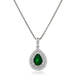 HPPEGEM223 Pear Shaped Emerald Double Halo Pendant - white