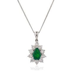 HPPEGEM243 Floral Design Emerald Pendant - white