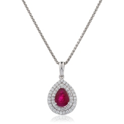 HPPEGRY224 Pear Shaped Ruby Double Halo Pendant - white