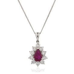 HPPEGRY244 Floral Design Ruby Pendant - white