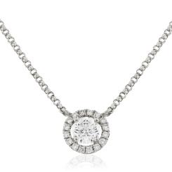 HPR146 Round cut Designer Diamond Pendant - white