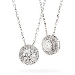 HPR149 Round cut Designer Diamond Pendant - white