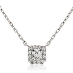 HPR153 Round cut Designer Diamond Pendant - white