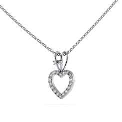 HPR17 Round Heart Shape Diamond Pendant - white