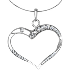 HPR18 Round Heart Shape Diamond Pendant - white