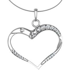 HPR18 Round Heart Shape Diamond Pendant - white
