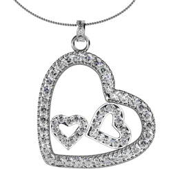 HPR19 Round Heart Shape Diamond Pendant - white