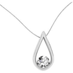 HPR2 Round Pear Designer Diamond Pendant - white