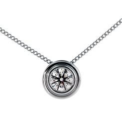 HPR3 Round Solitaire Diamond Pendant - white