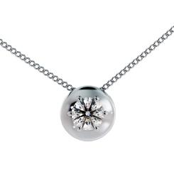 HPR4 Round Solitaire Diamond Pendant - white