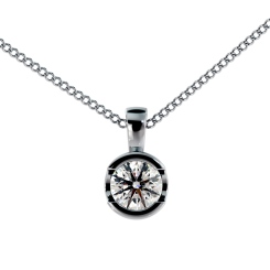 HPR63 Round Solitaire Pendant in 18K White Gold - 0.20ct, VS clarity, FG colour - white