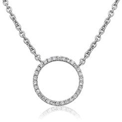HPRDR113 Circle of Life Round Diamond Pendant & Fixed Chain - white