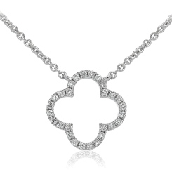 HPRDR114 Round cut Plus Diamond Pendant & Fixed Chain - white