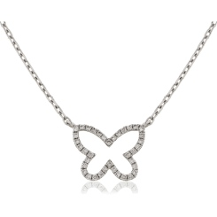 HPRDR115 Round cut Butterfly Diamond Pendant & Fixed Chain - white