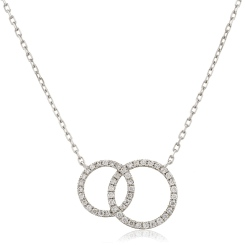 HPRDR116 Twin Circle of Life Round Diamond Pendant - white
