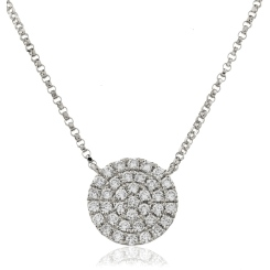 HPRDR117 Round cut Circle Cluster Diamond Pendant - white