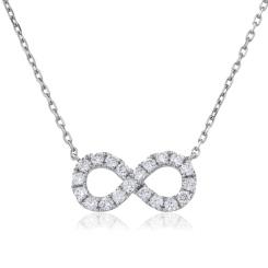 HPRDR118 Round cut Infinity Diamond Pendant - white
