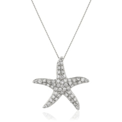 HPRDR119 Round cut Star Diamond Pendant - white