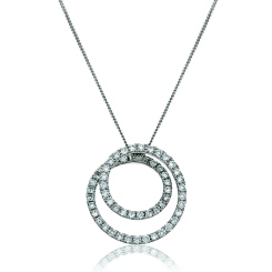 HPRDR121 Round cut Swirl Diamond Pendant - white