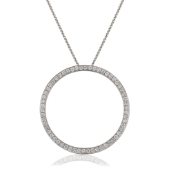 HPRDR123 Circle of Life Micro set Round cut Diamond Pendant - white