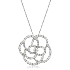 HPRDR128 Round cut Spiral Flower Diamond Pendant - white