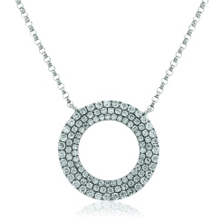 HPRDR129 Triple Row Round cut Circular Diamond Pendant - white