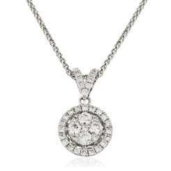 HPRDR130 Round cut Halo & Cluster Diamond Pendant - white