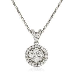 HPRDR130 Round cut Halo & Cluster Diamond Pendant - white